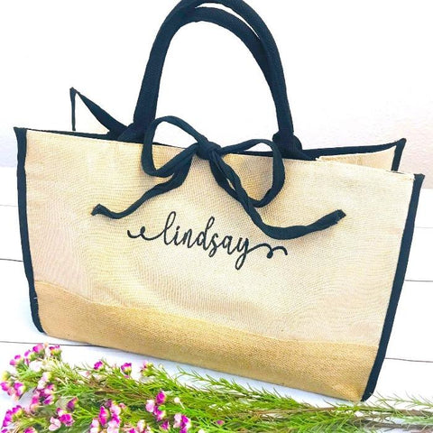 Embellish Chic Linen and Jute Shopper Tote | Monogrammed | QUICK SHIP