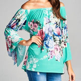 Embellish Riviera Floral Shoulder Ruffle Top