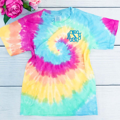 Embellish 🎀YOUTH 🎀Tie-Dye Tee Shirt | Monogrammed