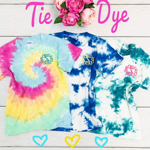 Embellish 🎀YOUTH 🎀Tie-Dye Tee Shirt | Monogrammed | QUICK SHIP