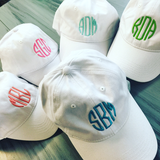 TWO Classic CUSTOM Monogram Caps | Over 20 colors | Adult or Youth