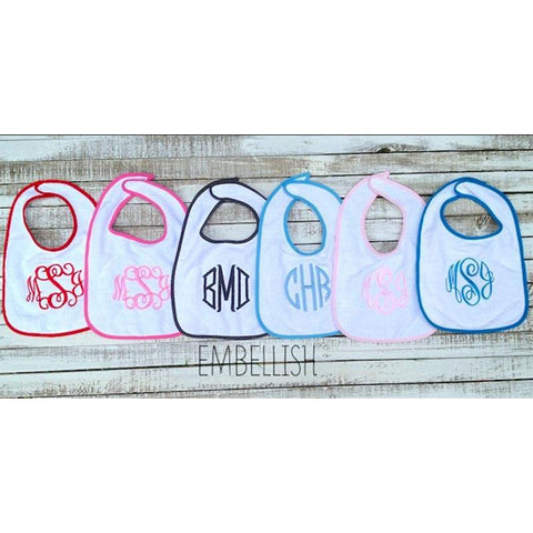 Embellish Cotton Terry Trim Baby Bibs | Monogrammed | QUICK SHIP