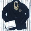 Classic Blazer with Embroidered Monogram