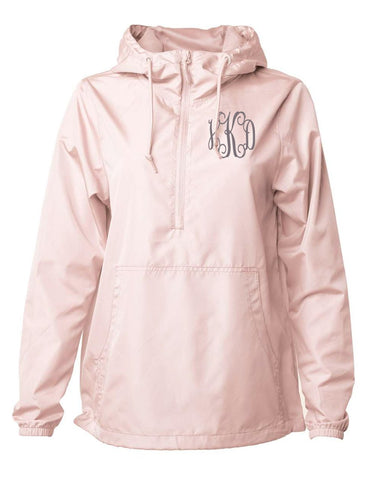 Embellish Half Zip Pullover Hooded Rain Jacket | Monogrammed