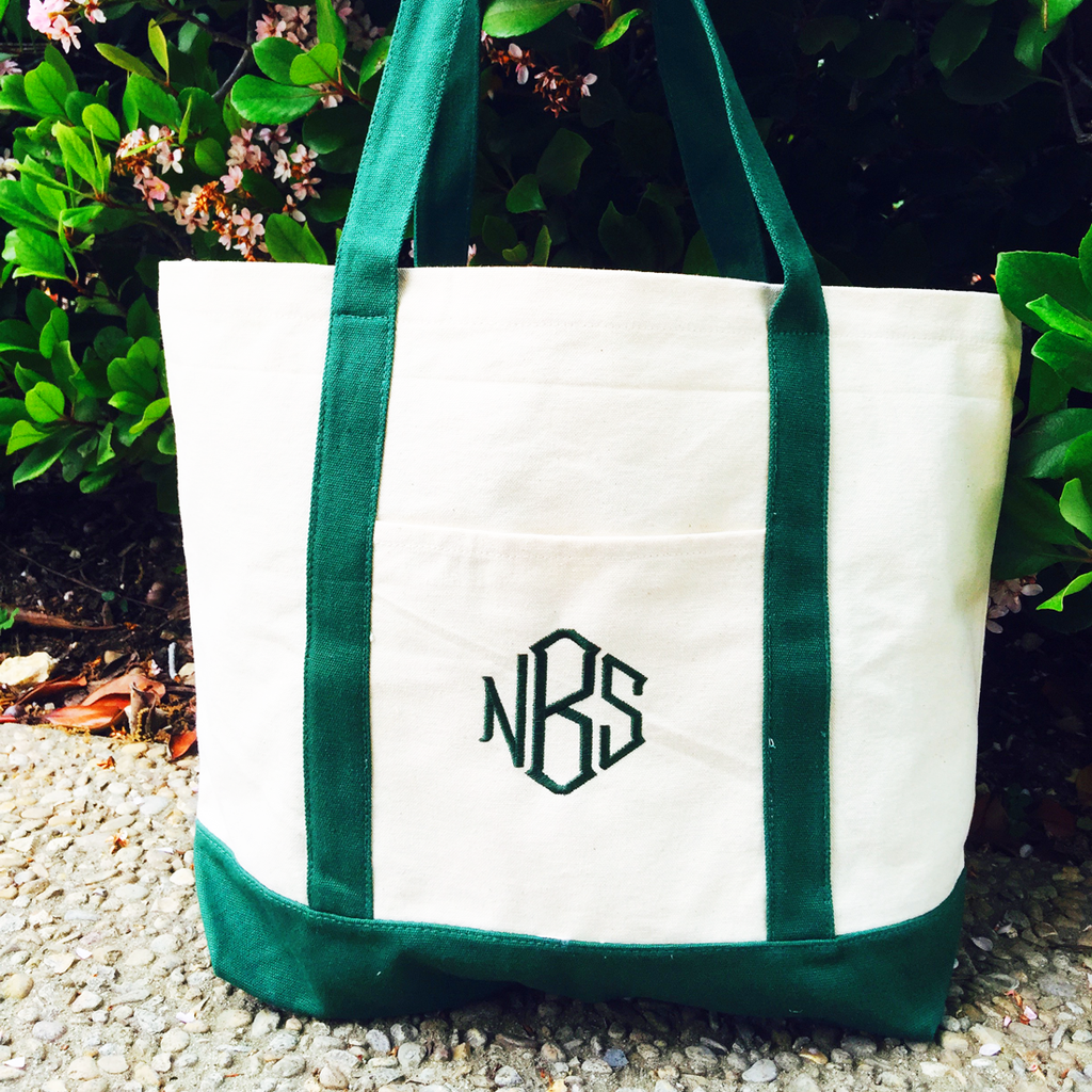 Monogrammed Canvas Boat Tote in Nine Colors