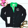 Embellish Classic Ladies Navy Jewel Neck Cardigan Sweater | Monogrammed