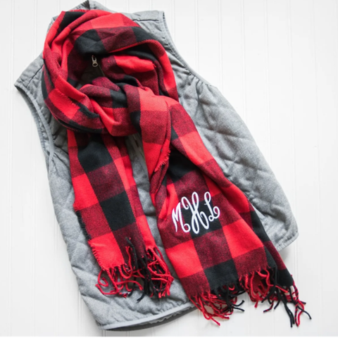 Embellish Cozy Buffalo Plaid Scarf | Monogrammed