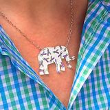 METAVIVOR Elephant  Ribbon Print Necklace Sterling Silver