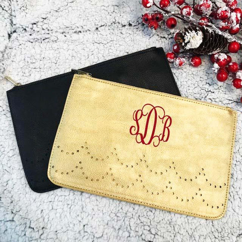 Embellish Chic Faux Leather Clutch Purse  | Monogrammed | QUICK SHIP