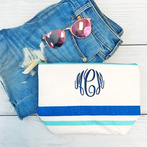 Embellish Stripe Canvas Accessory Bag- Blue Stripe | Monogrammed