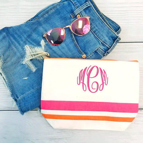 Embellish Stripe Canvas Accessory Bag- Pink Stripe | Monogrammed