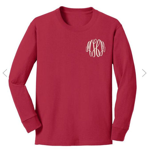 Embellish TODDLER/YOUTH Long Sleeve Cotton Tee Shirt | Monogrammed | QUICK SHIP | FREE SHIPPING