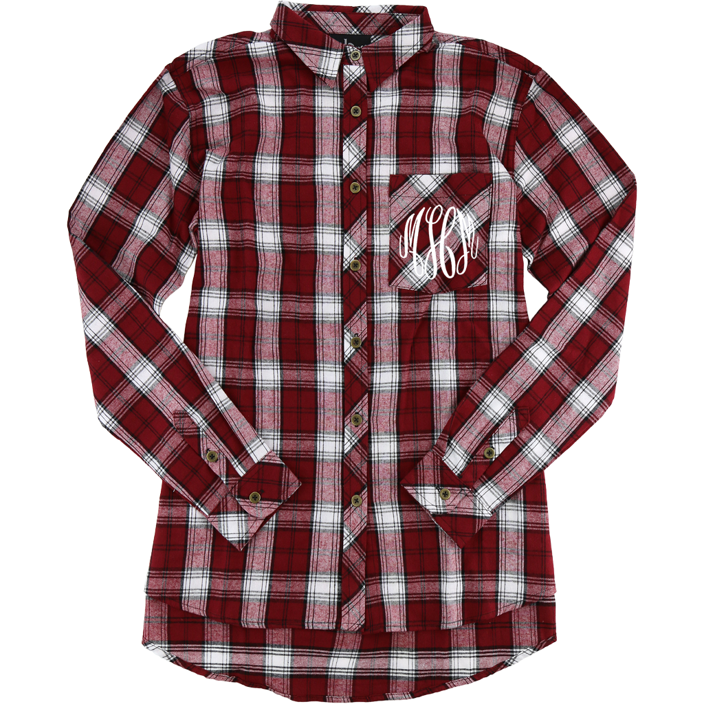 Embellish Perfect Plaid Monogram Flannel Button Down | Personalized