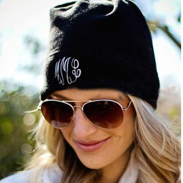 Embellish Cozy Monogram Fleece Beanie Hat | Personalized | promo code: LOVEADEAL