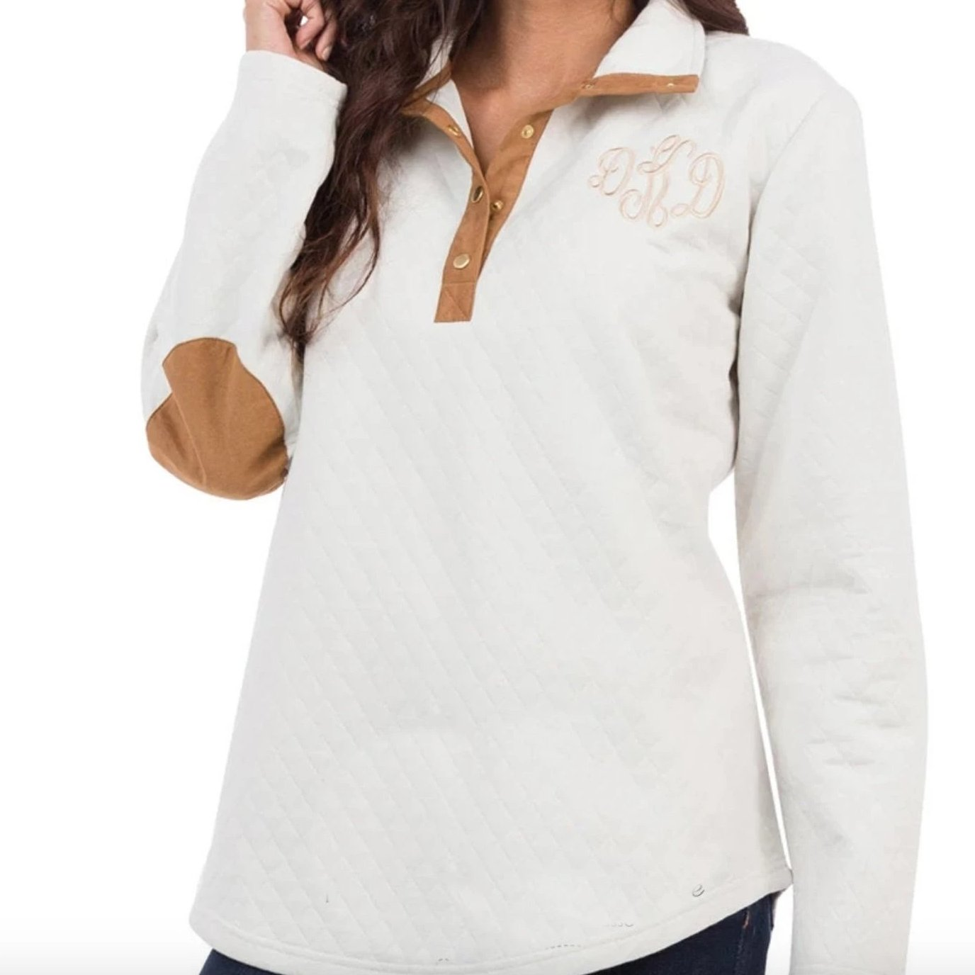 Embellish Quilted Oatmeal Snap Front Pullover | Monogrammed