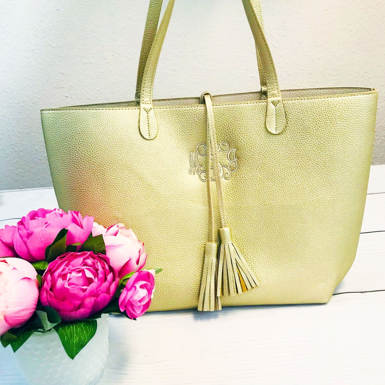 Embellish Metallic Gold Faux Leather Purse with Tassel Tie | Monogrammed | QUICK SHIP