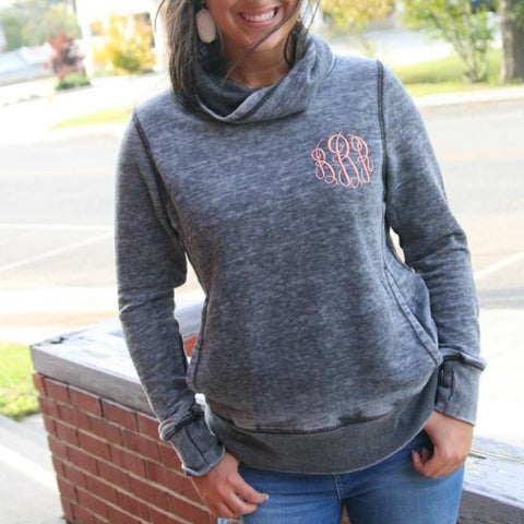 Embellish Ladies Vintage Zen Cowl Neck Pullover | Personalized Monogrammed