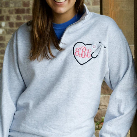 Embellish Personalized Monogram Stethoscope Nurse/Doctor Quarter Zip Fleece Pullover Sweatshirt