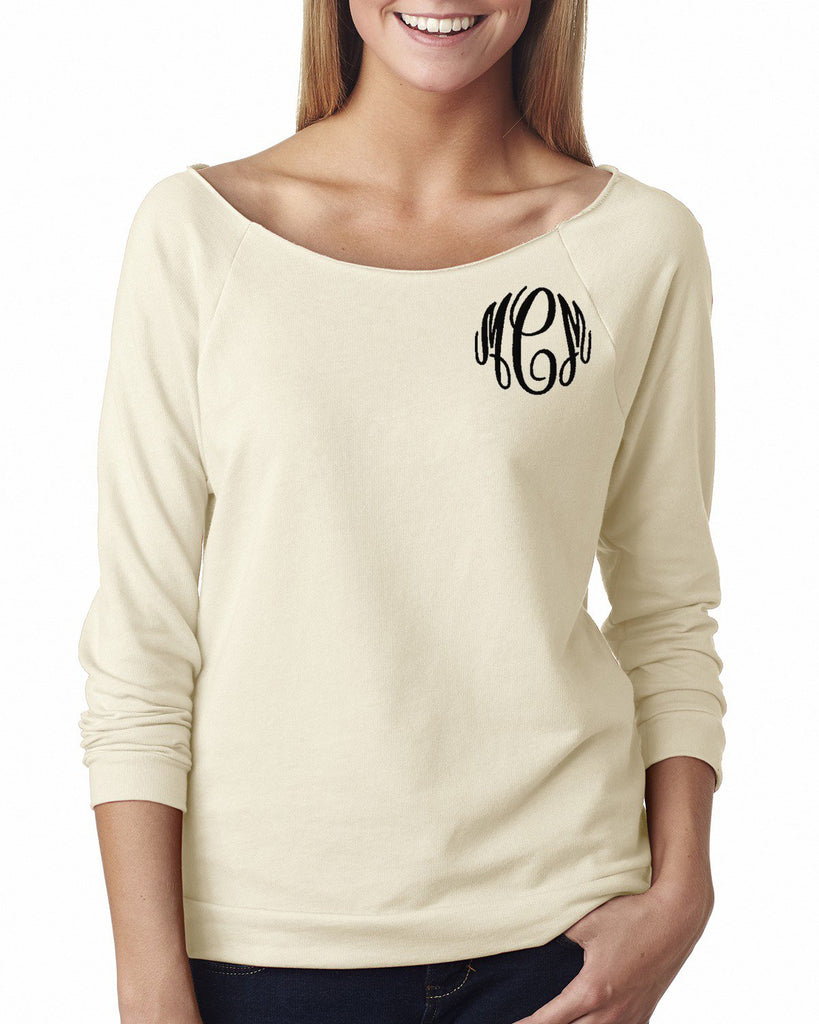 Embellish Ladies Wide Neck Pullover | Monogrammed