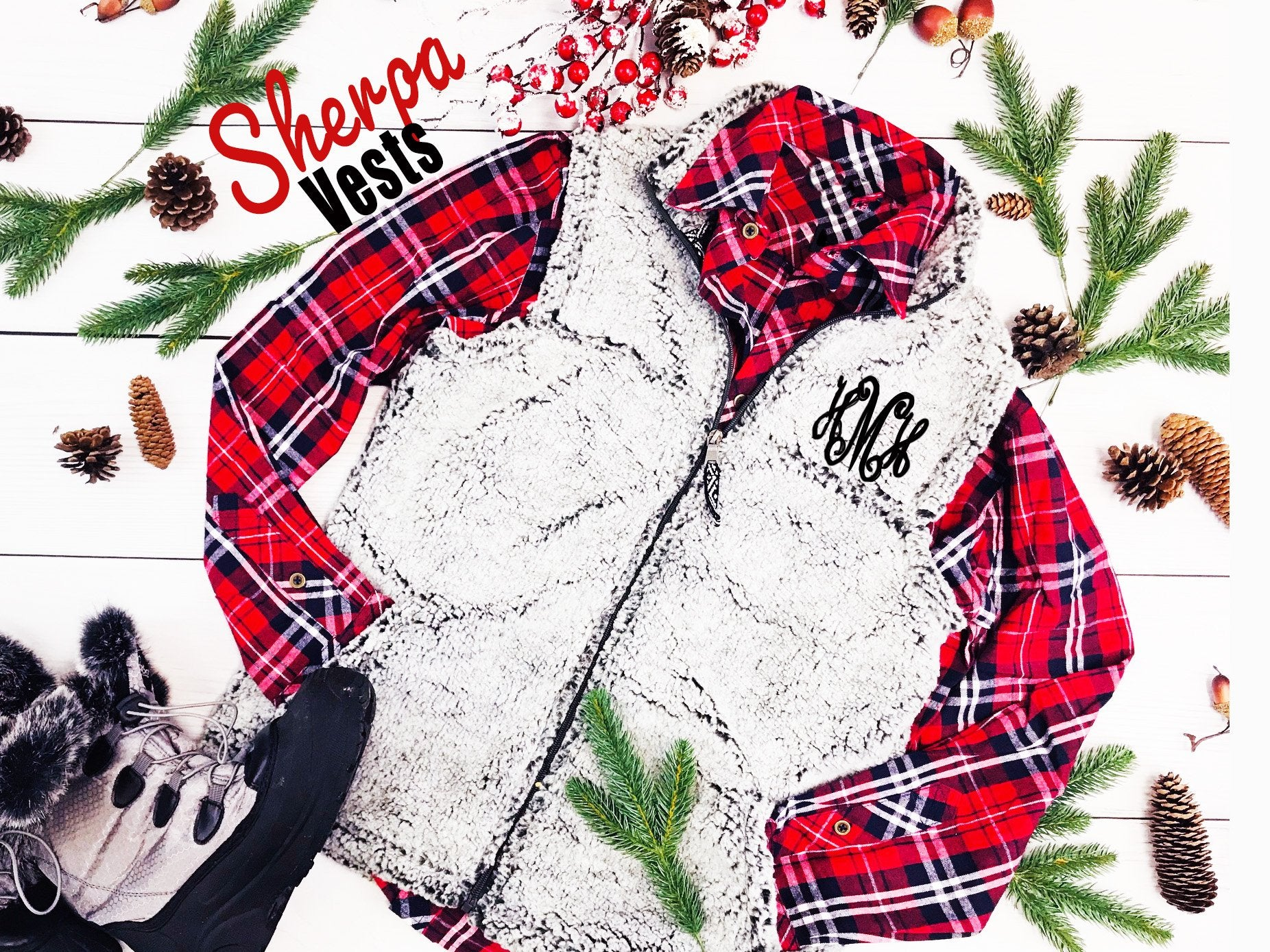 Embellish Ladies Frosty Grey Sherpa Vest | Monogrammed