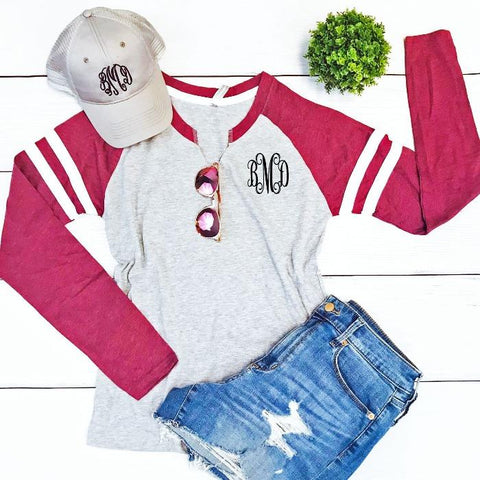 Embellish Vintage Maroon and Grey Long Sleeve Top | Monogrammed