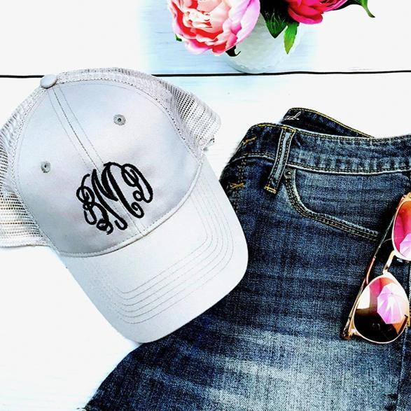 Embellish Monogram Mesh Trucker Caps