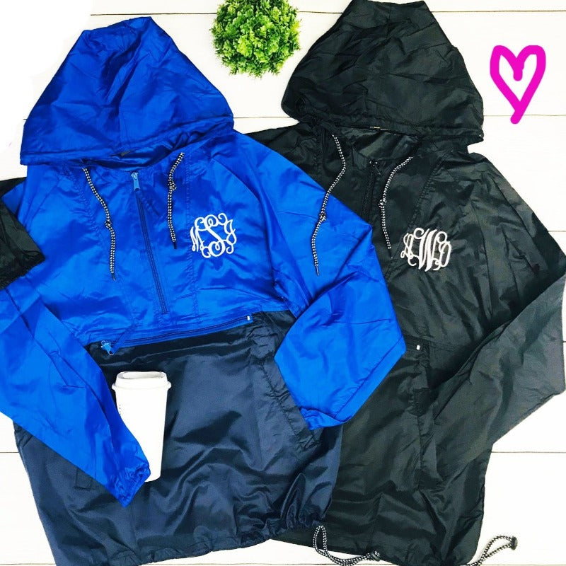 Embellish 1/4 Zip Pullover Hooded Monogram Rain Jacket | Personalized
