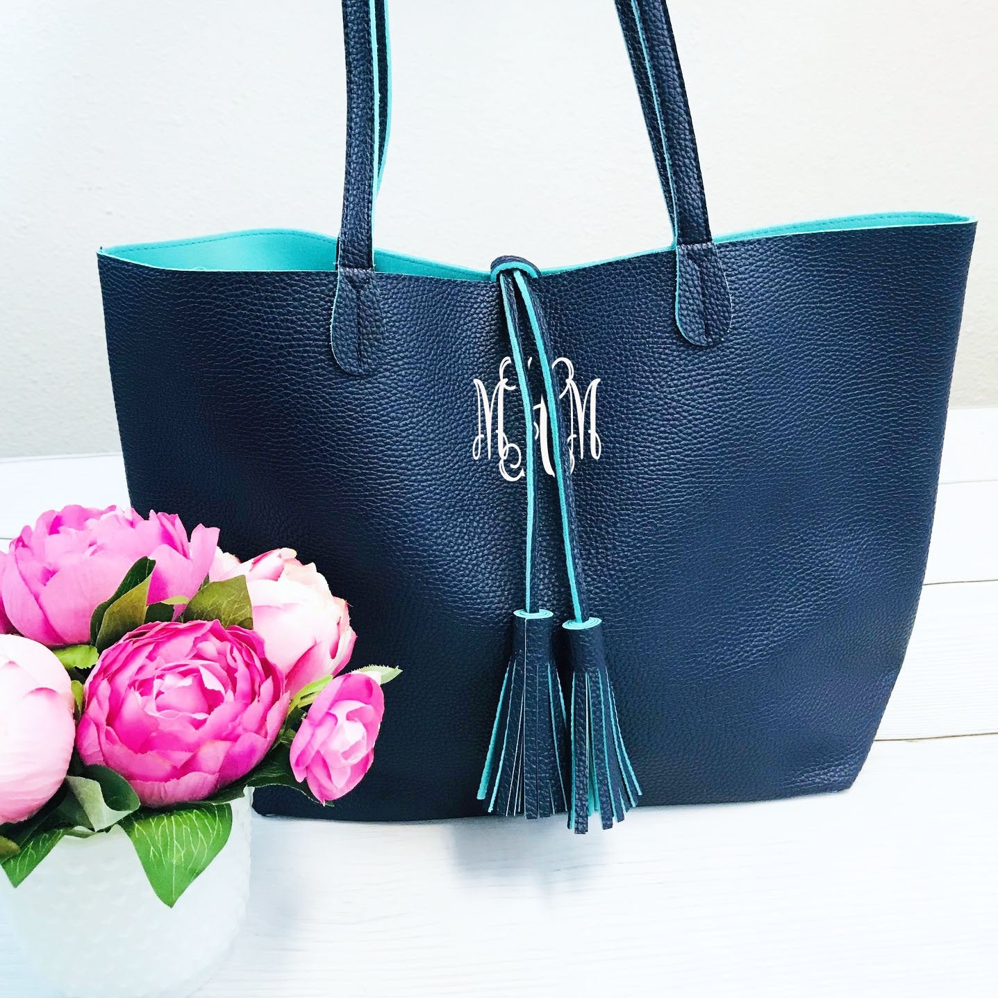 Embellish Navy and Aqua Faux Leather Purse with Tassel Tie | Monogrammed | QUICK SHIP