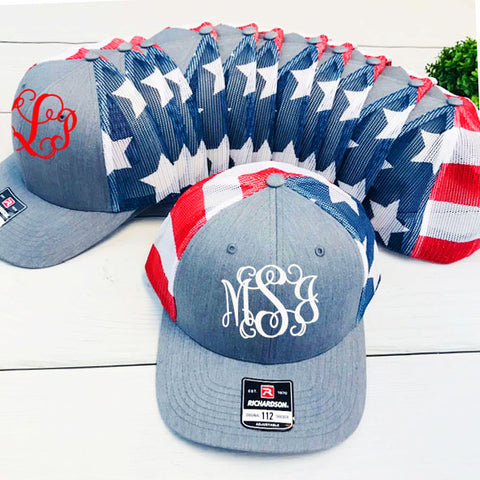 Embellish Patriotic Trucker Cap with Flag Mesh Back | Monogrammed