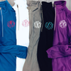 Monogrammed Fleece Pullover in Blue, White, Grey, Black and Purple