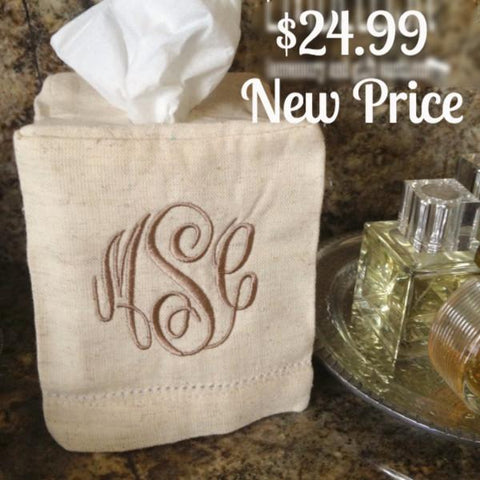 Hemstitch Tissue Box Cover | Monogrammed