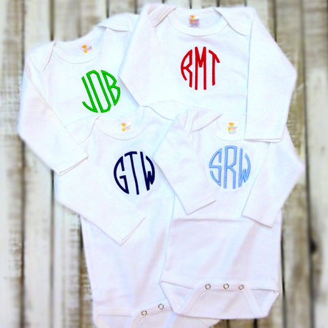 Monogrammed Cotton Long Sleeve Onesie