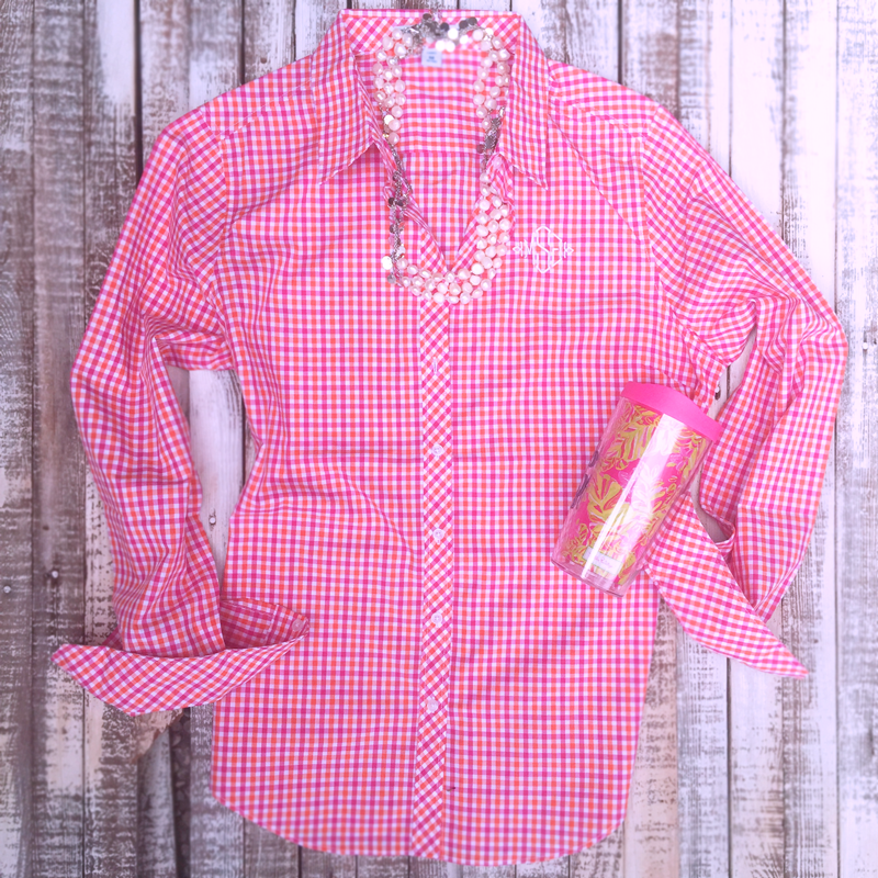 Monogrammed Gingham Oxford Shirt