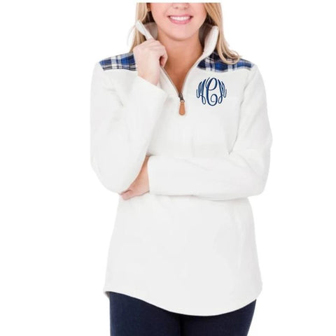 Embellish Soft Ivory Quarter Zip Pullover with Blue Plaid  | Monogrammed
