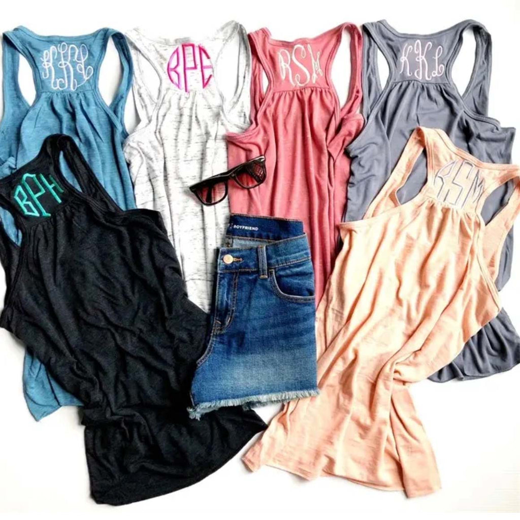 Embellish Racer-Back Flowy Tank 15 Colors | Monogrammed