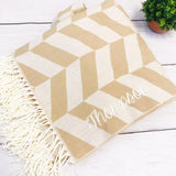 Neutral Herringbone Tassel Throw | Personalized