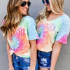 Embellish  Ladies Tie-Dye Sherbert Short Sleeve V-Neck Tee | Monogrammed