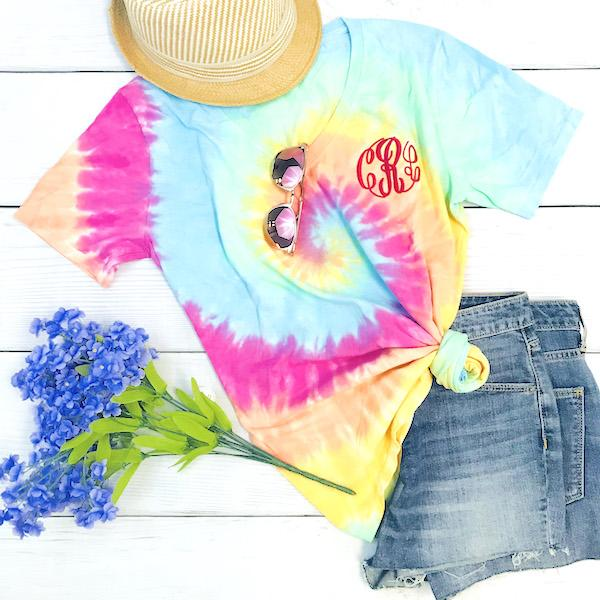Embellish Tie-Dye Sherbert Short Sleeve V-Neck Tee | Monogrammed | QUICK SHIP