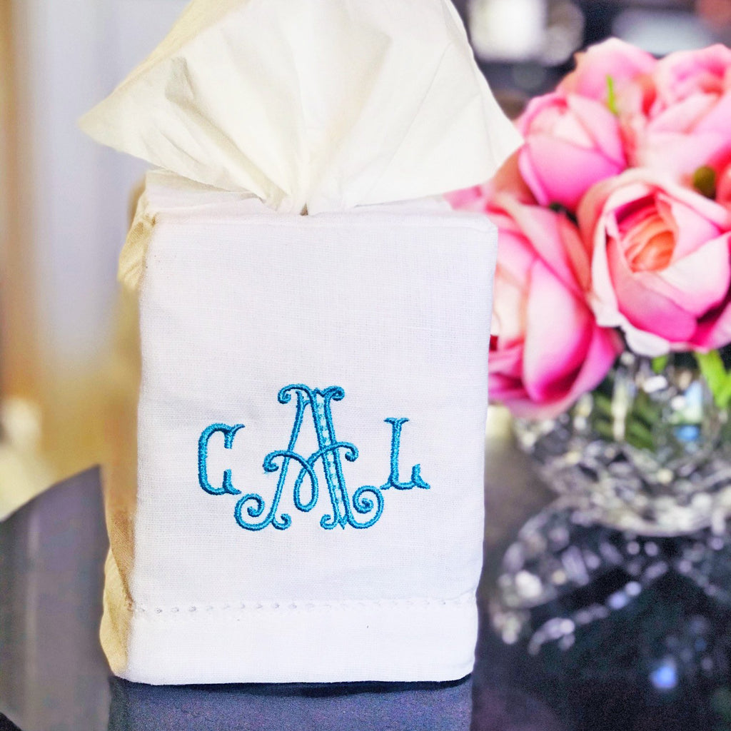 Embellish Linen Blend Hemstitch Tissue Box Cover | Monogrammed