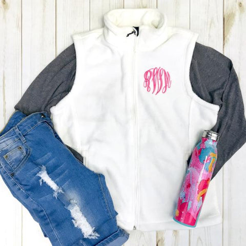 Embellish Classic Monogram Ladies Fleece Vest