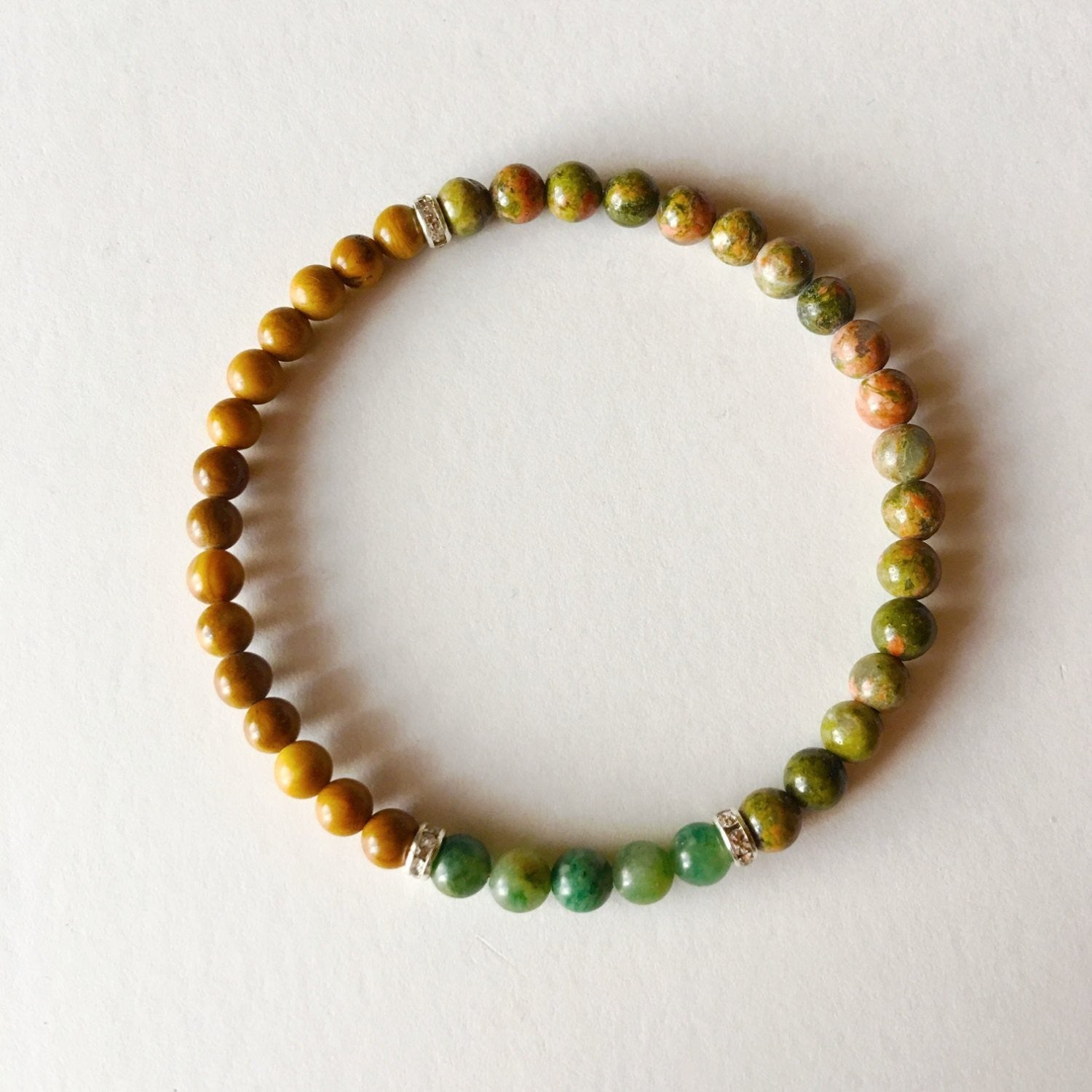 African Jade, Yellow Jasper and Unakite Sterling Silver Bracelet