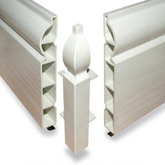 100mm White UPVC Skirting External Corner - Torus