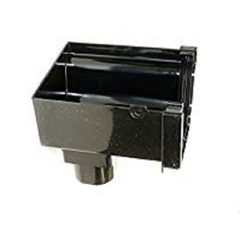 Black Ogee Gutter Right Hand Stop End Outlet