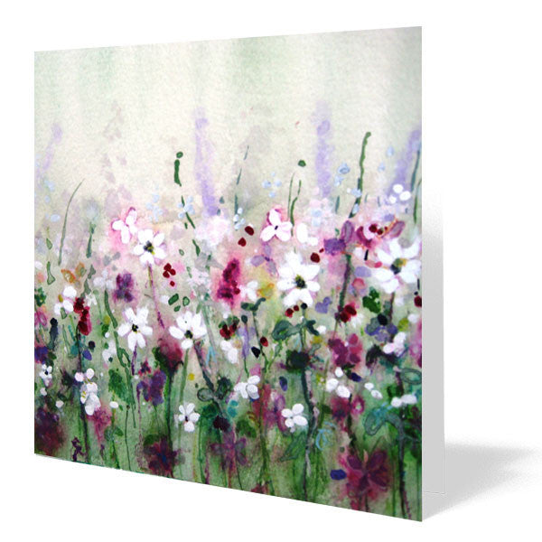 Lavender and Daisies Card 14cm x 14cm (Pack of five)