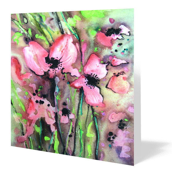 Poppies Card 14cm x 14cm (Pack of five)
