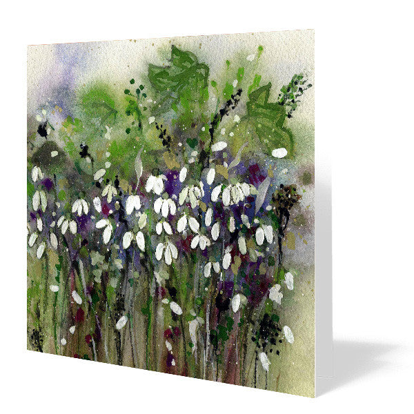 Snowdrops Card 14cm x 14cm (Pack of five)