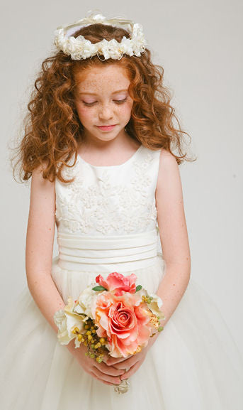 Willow Embroidered Flower Girl Dress in Creamy Ivory only 8-12y left