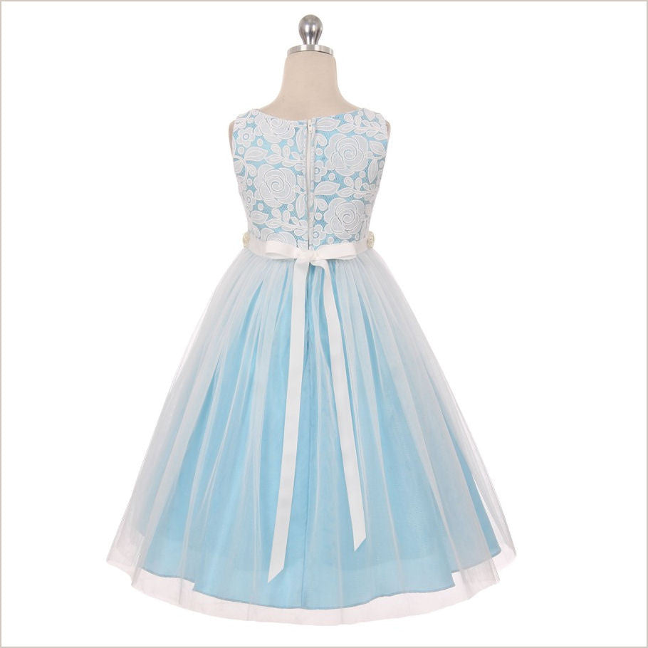 Lily Sky Blue Lace Flower Girl Dress