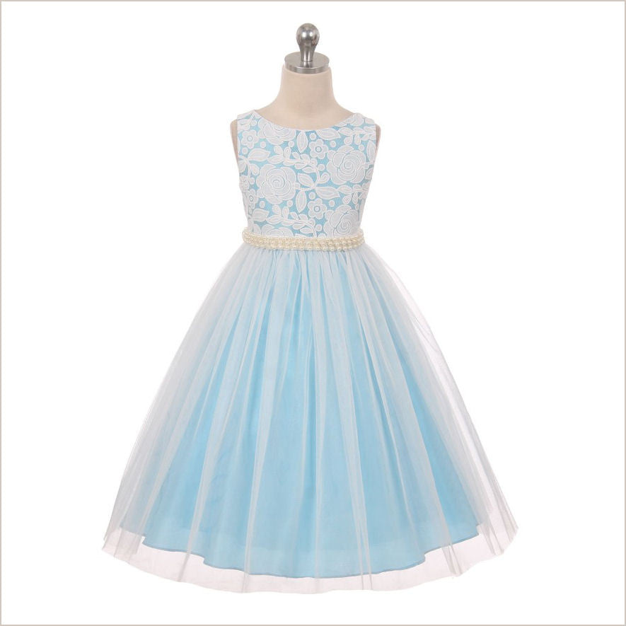 291fc626700 Lily Sky Blue Lace Flower Girl Dress