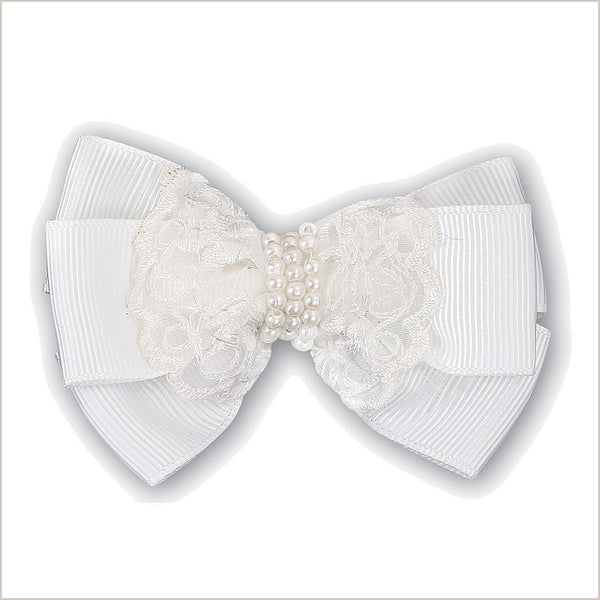 White Flower Girl Lace Hair Bow